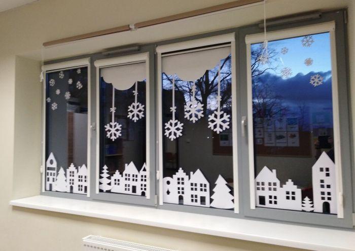 декор окна на новый год своими руками